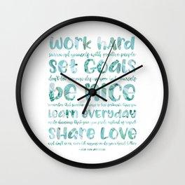 work hard share love Wall Clock