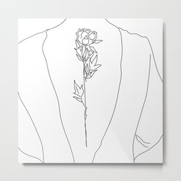 Feminine Floral Back Tat V2 Metal Print