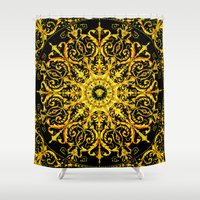 givenchy Shower Curtains featuring Versace Gold by Goldflakes