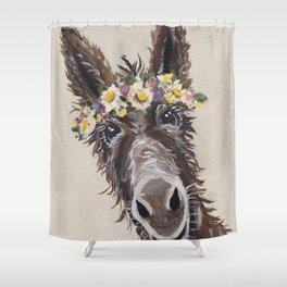 Flower Crown Donkey Art, Neutral Donkey Art, Cute Donkey Art Shower Curtain