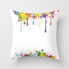 Paint Watercolor Splatter Throw Pillow