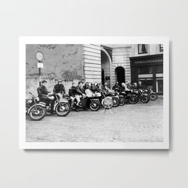 Band of young rockers on their motorbikes Metal Print