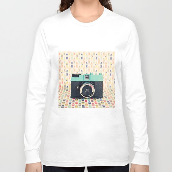 Blue Diana Mini Camera - Retro Vintage Photography Long Sleeve T-shirt