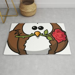 Cartoon Cute Owl And Rose Rug