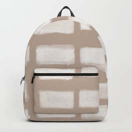 Brush Strokes Horizontal Lines Off White on Nude Backpack
