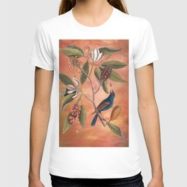 Blue Grosbeak with Sweetbay Magnolia, Vintage Natural History and Botanical T-shirt
