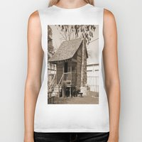 cabin Biker Tanks featuring Log Cabin by Rhonda Lain