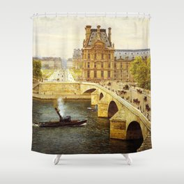 The Pont Royale and The Louvre, View of the Seine by Firmin-Girard Shower Curtain