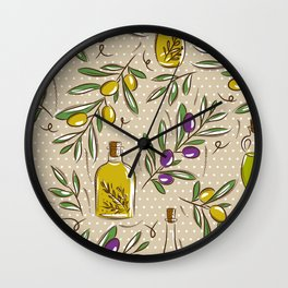 Mediterranean pattern — Olives Wall Clock