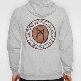 Mannaz - Wooden Celtic Rune of self, individuals, universe, family, loved ones, friends, devoted Hoody