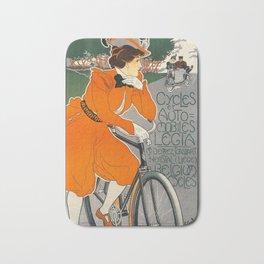 Vintage Art Nouveau Bicycle Poster Bath Mat