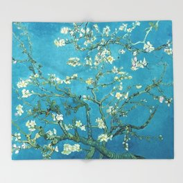 Vincent van Gogh Blossoming Almond Tree (Almond Blossoms) Light Blue Throw Blanket