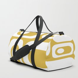 Atomic Age Pod Pattern in White and Mustard Yellow - Minimalist Midcentury Design Duffle Bag