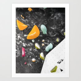 Colorful summer bouldering gym wall climbing holds girls Art Print