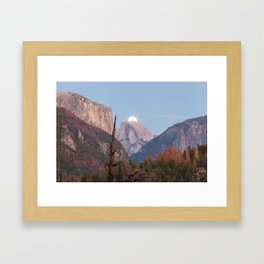 The super moon is rising in Yosemite Valley Framed Art Print