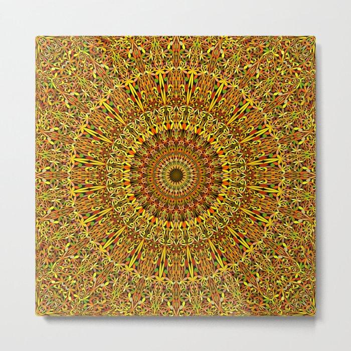 Garden Mandala Ornament Metal Print