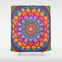 samsung Shower Curtains featuring Lotus Rainbow Mandala by Elspeth McLean