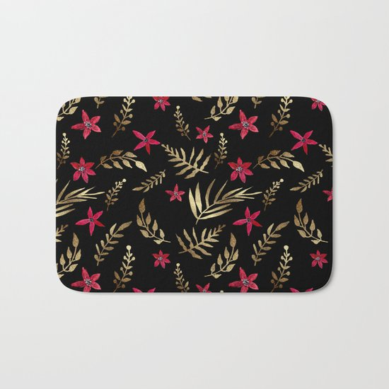 Golden palm tropical glitter leaves and red flowers on black Bath Mat