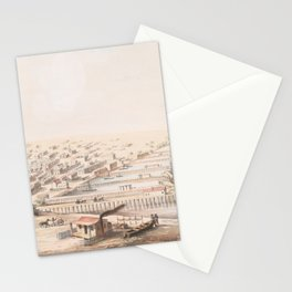 Vintage Pictorial Map of Galveston TX (1855) Stationery Cards