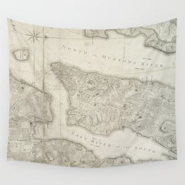 Vintage Map of New York City (1776) Wall Tapestry