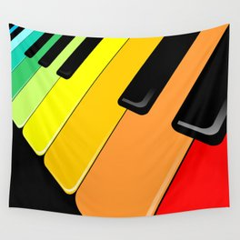 Piano Keyboard Rainbow Colors  Wall Tapestry