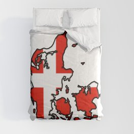 Denmark Map with Danish Flag Comforters