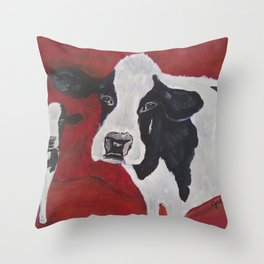 Cowabunga Cow painting Throw Pillow