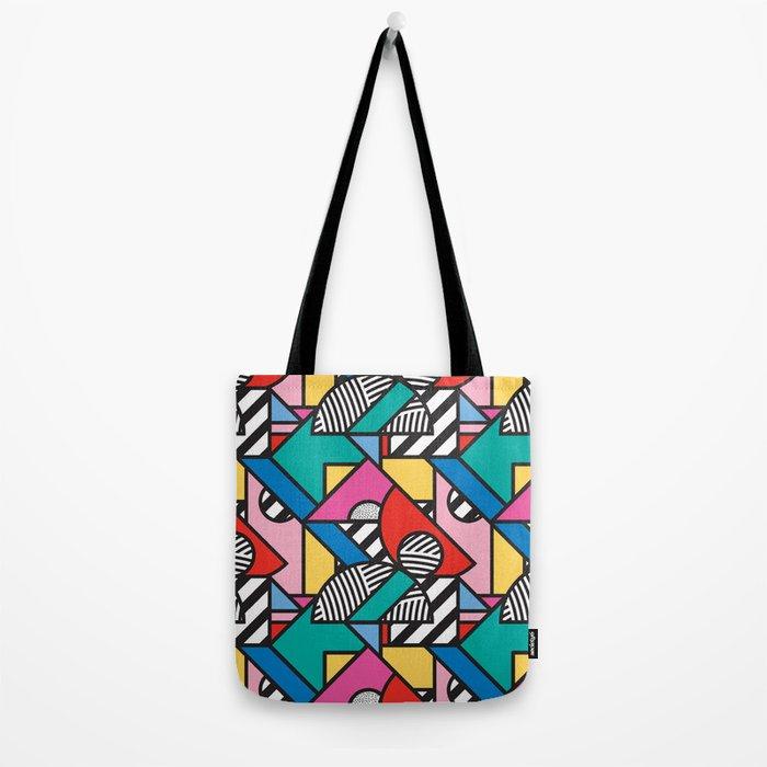 Colorful Memphis Modern Geometric Shapes Tote Bag