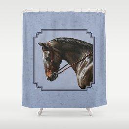 Brown Dressage Horse Shower Curtain
