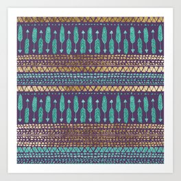 Gold Teal and Purple Arrows Tribal Aztec Pattern Art Print