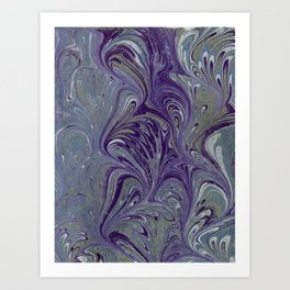 Purple, Blue, & Green Marbled Art Print