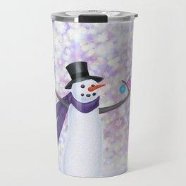 snowman, chickadees, and ornaments Travel Mug