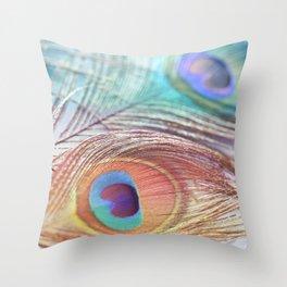 Pastel Boho Peacock Throw Pillow
