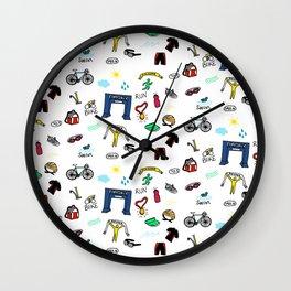 Triathlon Doodles Wall Clock
