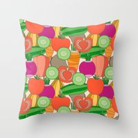 vegetables Throw Pillows featuring Vegetables by Valendji