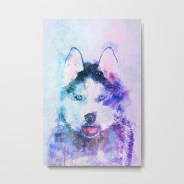 Watercolor Siberian Husky Metal Print