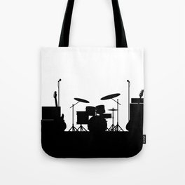 Rock Band Equipment Silhouette Tote Bag