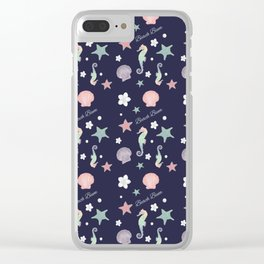 Beach Bum Seahorse Pattern(navy) Clear iPhone Case