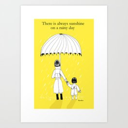 Mother and Daughter in the rain Art Print