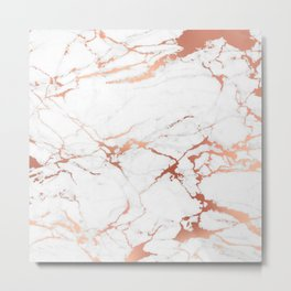 White rose-gold marble Metal Print