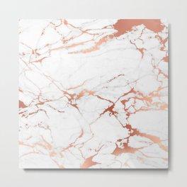 White rose-gold marble Metal Print