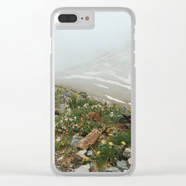 Alpine Wildflowers in Snow Clear iPhone Case
