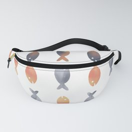 Multicolored hand drawn small fish looking in the opposite directions pattern Fanny Pack