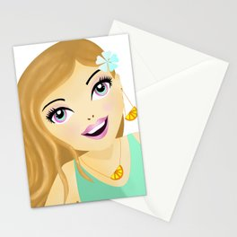 Fashion Girl illustration with orange earrings and necklace Stationery Cards