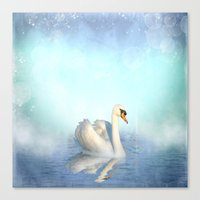 swan Canvas Prints featuring Swan by haroulita