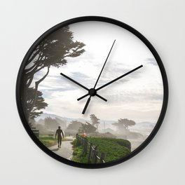 Surfer Walking to the Beach Wall Clock