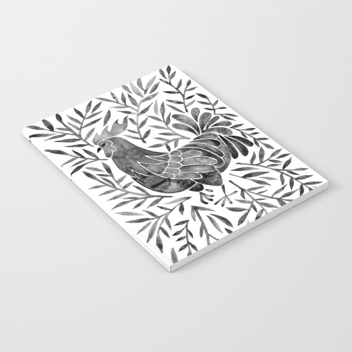 Le Coq – Watercolor Rooster with Black Leaves Notebook