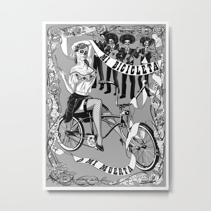My Bicycle or My Death Metal Print