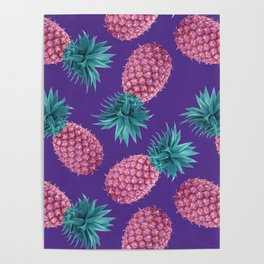 Colorful pineapples Poster
