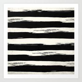 Trendy Black + Cream Stripes Art Print